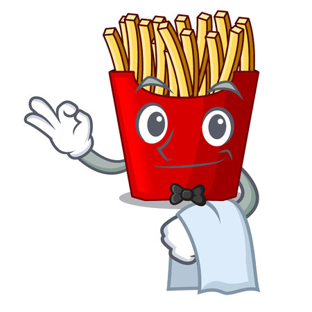 Waiter french fries wrapped in cartoon shapes vector illustration