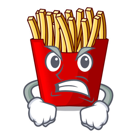 Angry french fries wrapped in cartoon shapes vector illustration