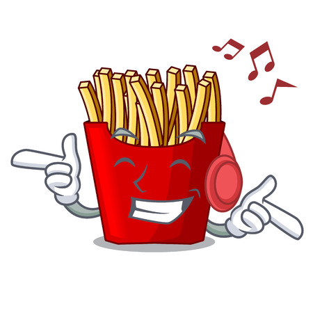 Listening music french fries wrapped in cartoon shapes vector illustration