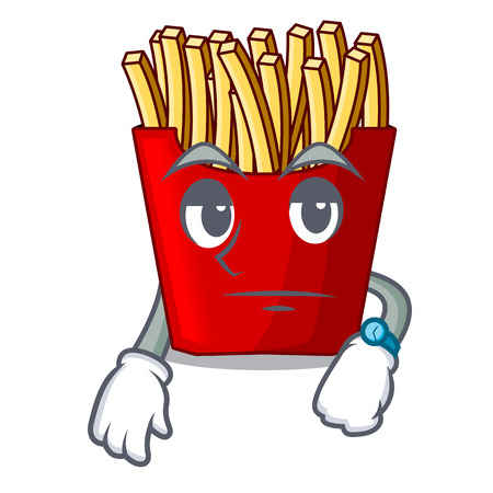 Waiting french fries above the mascot board vector illustration