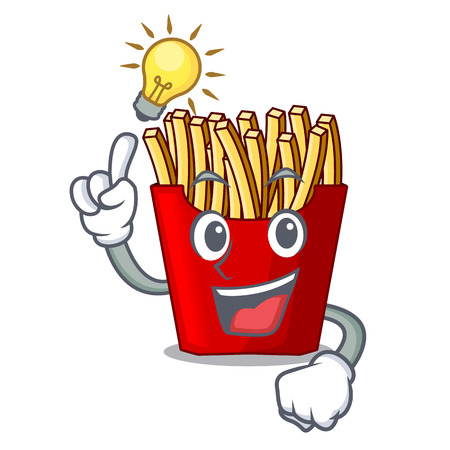 Have an idea french fries above the mascot board vector illustration Illustration