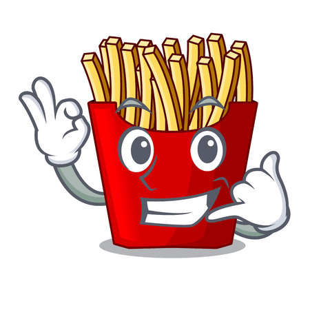 Call me french fries above the mascot board vector illustration