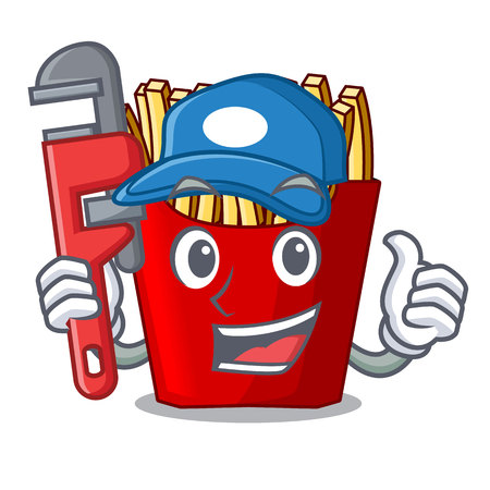 Plumber french fries above the mascot board vector illustration