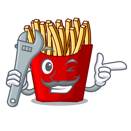 Mechanic french fries above the mascot board vector illustration Illustration