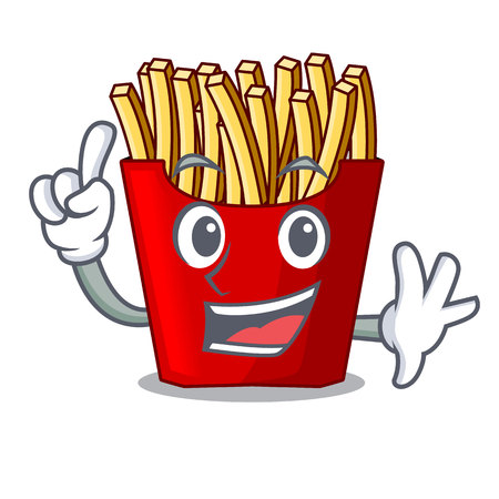 Finger french fries above the mascot board vector illustration