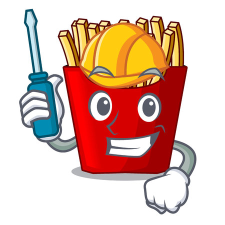 Automotive french fries above the mascot board vector illustration Illustration