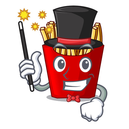 Magician french fries above the mascot board vector illustration Illustration