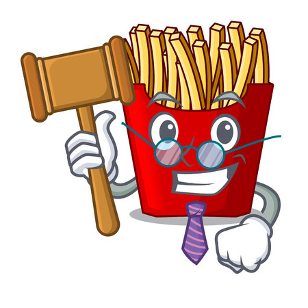 Judge french fries above the mascot board vector illustration