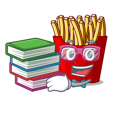 Student with book french fries above the mascot board vector illustration