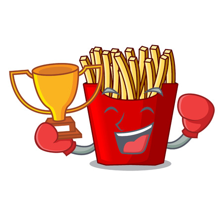 Boxing winner french fries above the mascot board vector illustration
