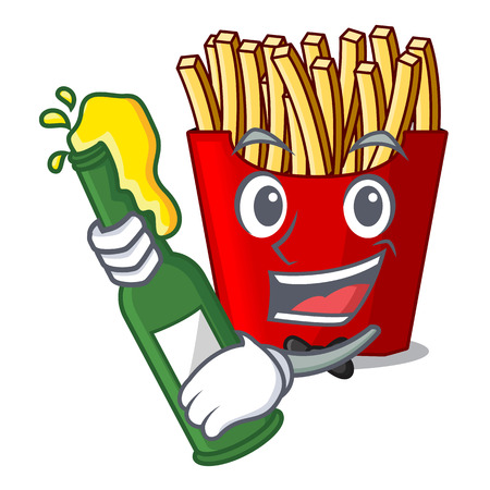 With beer french fries above the mascot board vector illustration