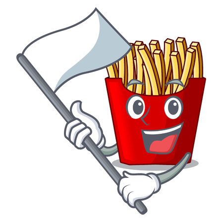 With flag french fries above the mascot board vector illustration