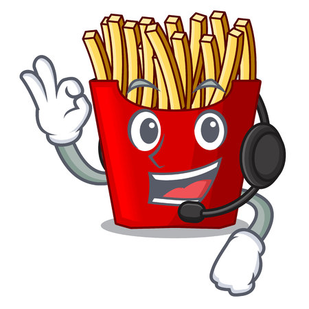 With headphone french fries above the mascot board vector illustration