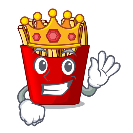 King french fries above the mascot board vector illustration Illustration
