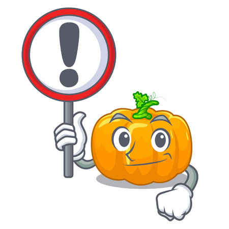 With sign yellow pumpkin above wooden mascot table vector illustration