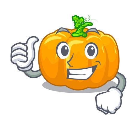 Thumbs up yellow pumpkin in the cartoon shape vector illustration
