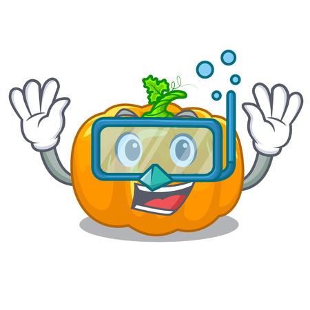 Diving yellow pumpkin in the cartoon shape vector illustration Illusztráció