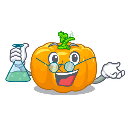 Professor yellow pumpkin in the cartoon shape vector illustration