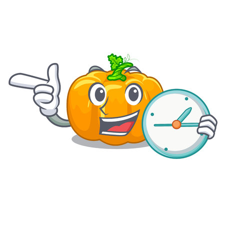 With clock yellow pumpkin in the cartoon shape vector illustration Illustration