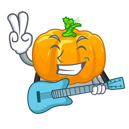 With guitar yellow pump in the character basket vector illustration