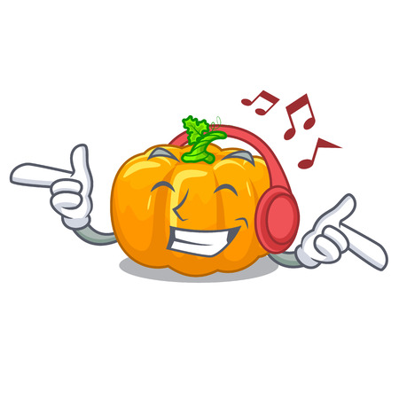 Listening music yellow pump in the character basket vector illustration