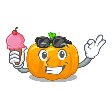 With ice cream yellow pumpkin in the cartoon shape vector illustration Illusztráció