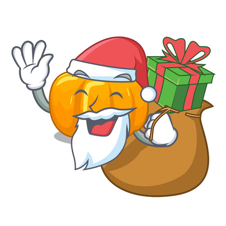 Santa with gift yellow pumpkin isolated in the cartoon vector illustration