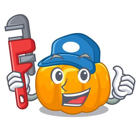 Plumber yellow pumpkin isolated in the cartoon vector illustration