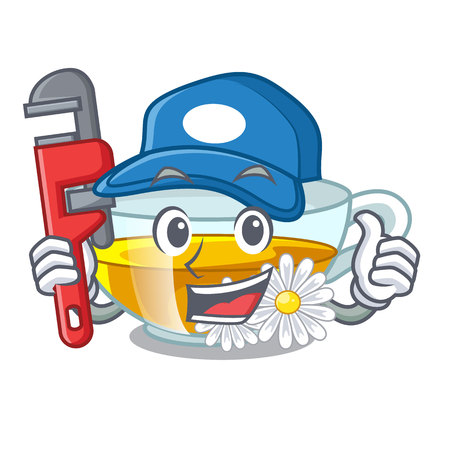 Plumber chamomile tea isolated the with mascot vector illustration Illustration