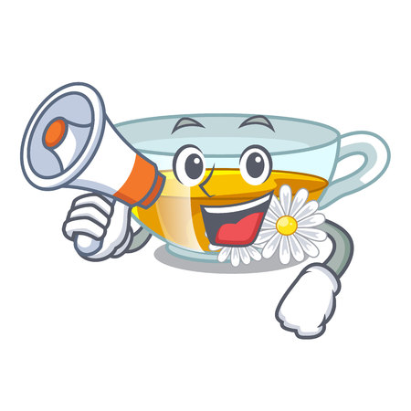 With megaphone cup chamomile tea cartoon above table vector illustration