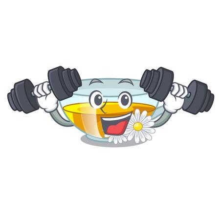 Fitness cup chamomile tea cartoon above table vector illustration Illustration