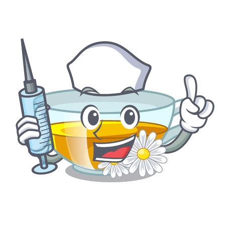 Nurse chamomile tea in the character bottles vector illustration Illustration
