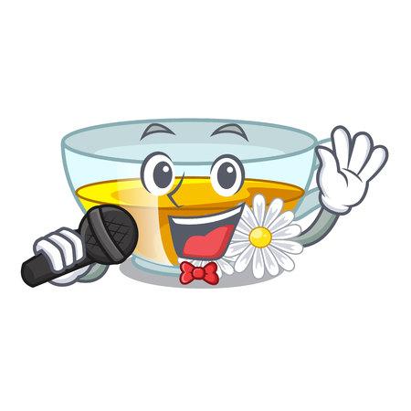 Singing chamomile tea in the cartoon shape vector illustration