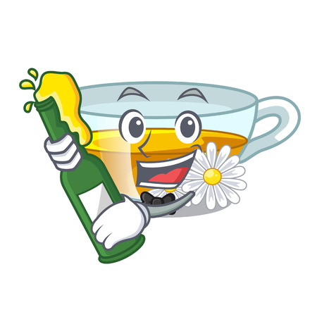 With beer chamomile tea isolated the with mascot vector illustration
