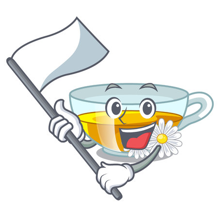 With flag chamomile tea isolated the with mascot vector illustration
