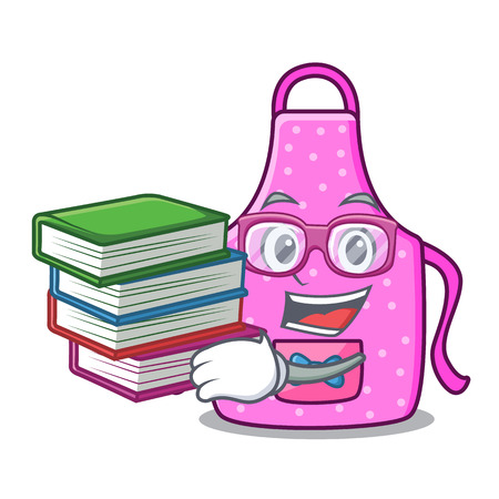 Student with book kitchen apron placed above cartoon table vector illustration Illustration