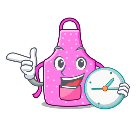 With clock kitchen apron in the mascot room vector illustration