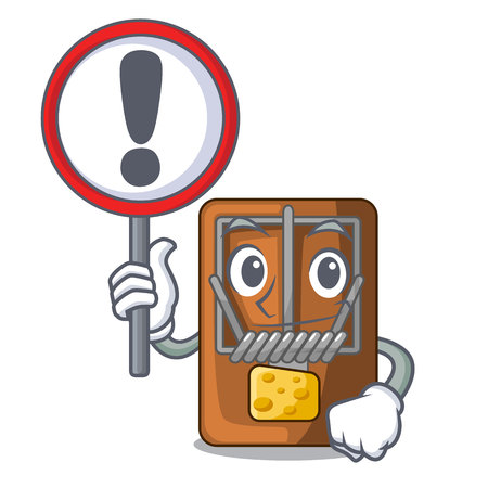 With sign mousetrap in the a character shape vector illustration Ilustração