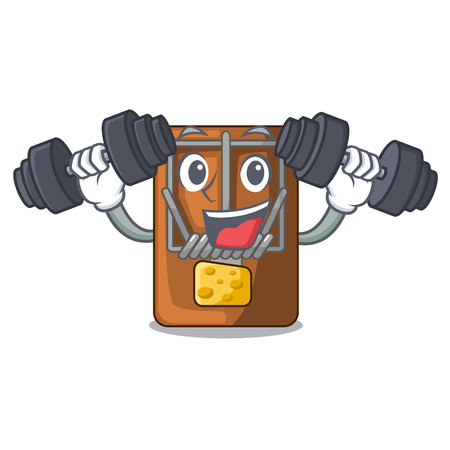 Fitness mousetrap in the a character shape vector illustration