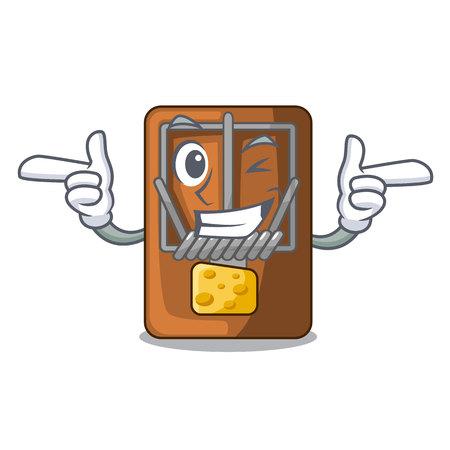 Wink mousetrap in the shape mascot wood vector illustration Ilustração
