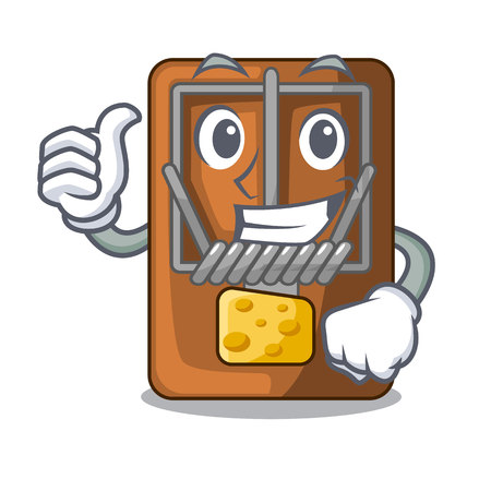Thumbs up mousetrap in the shape mascot wood vector illustration