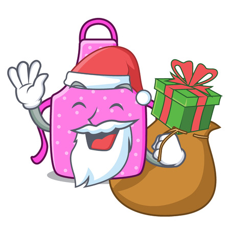 Santa with gift kitchen apron placed above cartoon table vector illustration