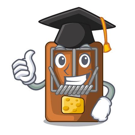 Graduation mousetrap in the shape mascot wood vector illustration Vector Illustration