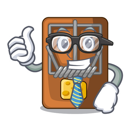 Businessman mousetrap in the shape mascot wood vector illustration