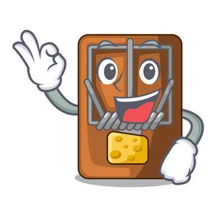 Okay mousetrap in the shape mascot wood vector illustration
