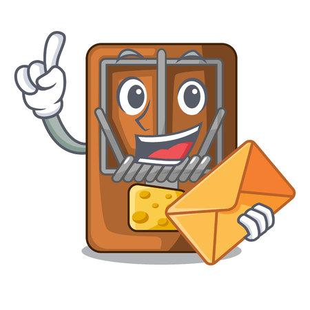 With envelope mousetrap in the shape mascot wood vector illustration Ilustração