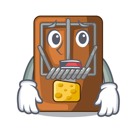 Afraid mousetrap isolated with in the cartoon vector illustration