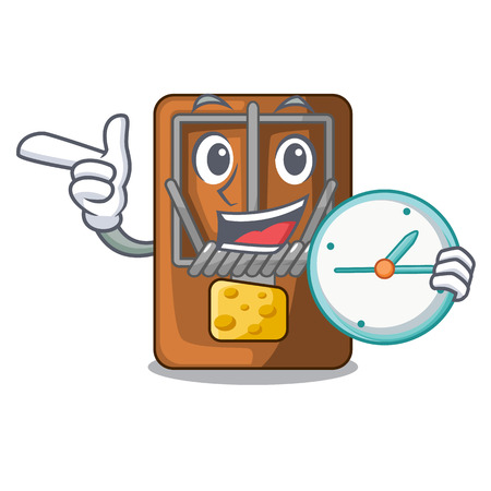 With clock mousetrap in the shape mascot wood vector illustration