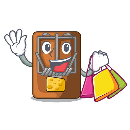 Shopping mousetrap in the shape mascot wood vector illustration