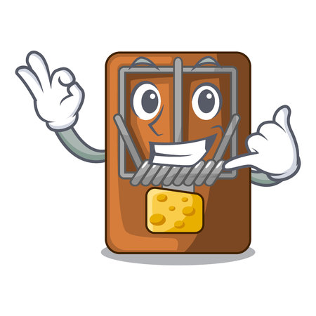Call me mousetrap is placed above cartoon table vector illustration